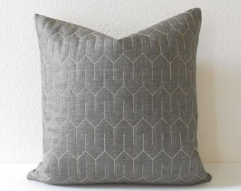 Dark Gray Quilted Geometric Decorative Pillow Cover