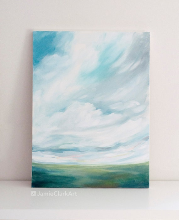 "Original 18x24 Painting ""Cloudscape No. 2"" FREE SHIPPING"