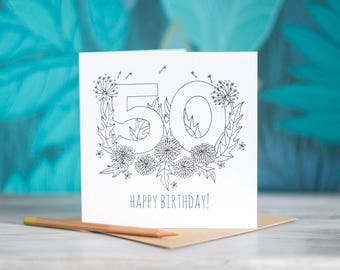 Colour-In Number/Age Birthday Card - 50