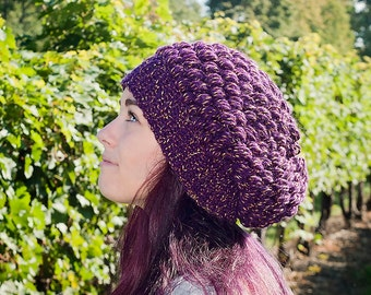 Crochet Puff Stitch Hat *Purple & Gold*