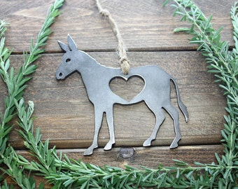 Donkey Ornament Rustic Raw Steel Recycled Metal Heart Christmas Tree Ornament Holiday Gift Industrial Decor Wedding Favor By BE Creations