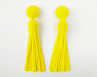 Oscar de la Renta earrings, beaded long tassel stud/clip earrings, Oscar earrings, drop earrings, dangle earrings, beaded tassel earrings,