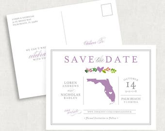 State Save the Date Postcards, Florida Save the Date Postcards, Destination Wedding Save the Date Postcards, Printable Save the Dates, PDF