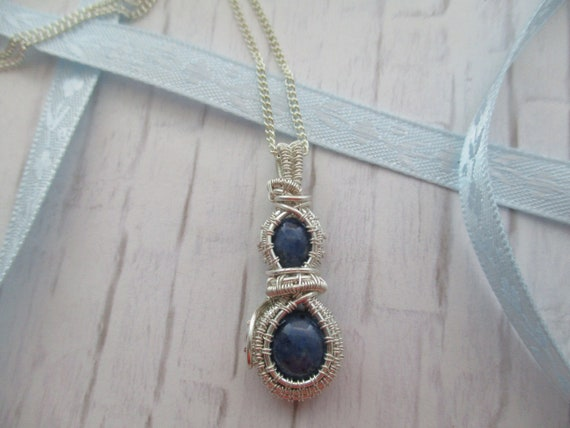 Dumortierite Wire Wrapped Double Cabochon Pendant Necklace N58181