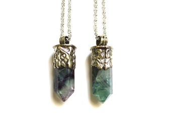 The large fluorite crystal point necklace