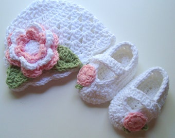 Crochet Baby Hat and Booties Set, Infant Hat and Mary Jane Booties,  Cotton Hat and Booties,  Baby Shower Gift,  READY TO SHIP