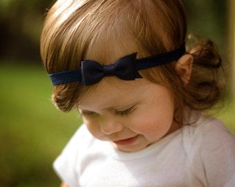 Navy Bow Headband / Navy Baby Headband / Headbands for Baby Girls / Navy Blue Hair Bow / Newborn Headband / Infant Headband / Navy Blue