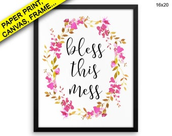 Bless This Mess Wall Art Framed Bless This Mess Canvas Print Bless This Mess Framed Wall Art Bless This Mess Poster Bless This Mess Kitchen