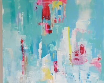 Original acrylic abstract 30 x 30 turquoise white blue