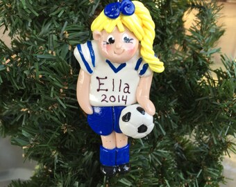 Handcrafted Polymer Clay Soccer Player Girl Ornament