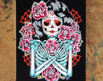5x7, 8x10, or 11x14 in Art Print - She Decomposes, Feeds the Roses - Rockabilly Gothic Day of the Dead Sugar Skull Girl Tattoo Flash Art