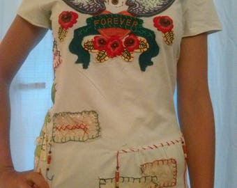 Embroidered T shirt white cotton and elastane