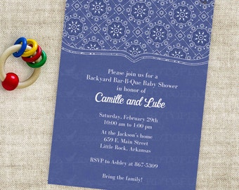 Bandanna Country Baby Shower Invitation or Western BBQ Party with Blue Printable Custom Invites with Professional Printing Option