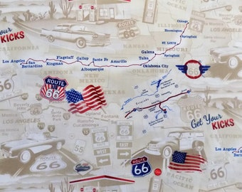 Route 66 Fabric Rt 66 Map Material Vintage Look Fabric Sewing Supplies Quilting Supplies Craft Supplies Timeless Treasures
