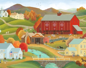 """Folk Art Painting """"Autumn at the Big Red Barn"""""""