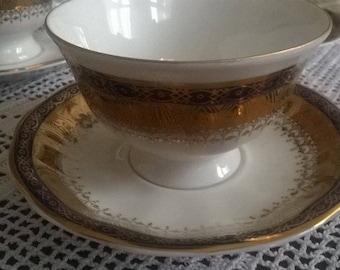 1950s Vintage Jarolina Poland, Gold Blue Flower  Teacup and Saucer,  Beautiful Tea Cup