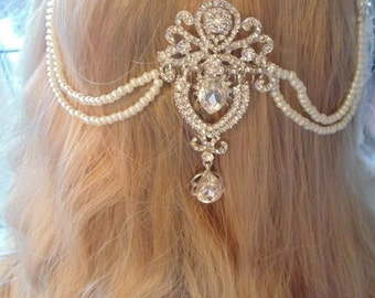 Bridal hair swag, bridal hair drape, bridal hair chain, swag headpiece, pearl hair swag, pearl wedding swag, wedding hair vine, crystal swag