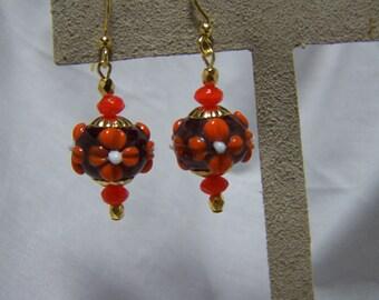 Amethyst and Orange Lampwork Floral Dangle Earrings