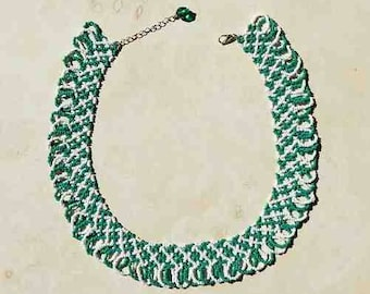 Beaded Necklace Swirl Medium Green and White