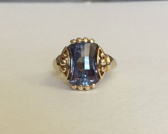 Color change sapphire 10k mid century ring