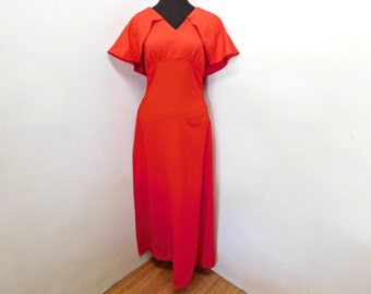 Vintage 70's Lipstick Red Maxi Dress Bodycon Flutter Capelet Prom Prty Dress XS S Small