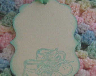 Hand Made Baby Shoes Wish Tags, Hang Tags, Gift Tags, Baby Shower