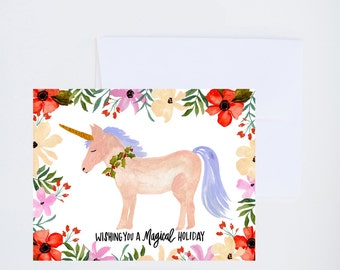 Holiday Greeting Cards - Unicorn - Have a Magical Holiday - Single A-2 Card