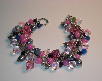 Pink Fiesta Bead Dangle Bracelet