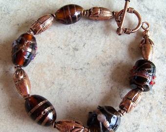 Dark Amber and Copper Beaded Bracelet
