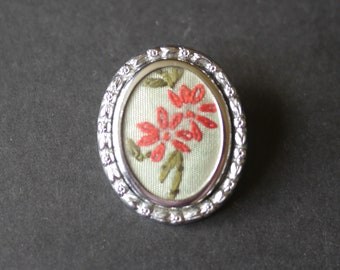 Small vintage embroidered brooch, red flowers