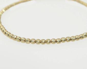 14k Gold Bracelet. sparkly diamond cut beads bracelet. real Gold bracelet, gold jewelry, gold beades, solid gold bracelet, 14k gold bracelet