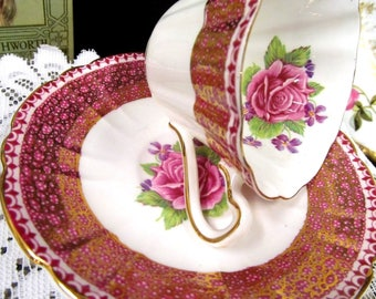 Gladstone Tea Cup and Saucer Pink Rose & Bands of Pink Gold Gilt Flared Teacup