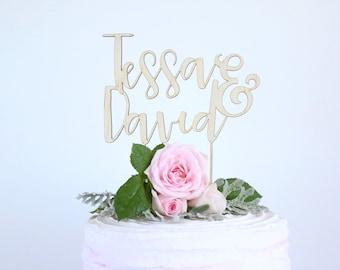 Custom couple name - Wedding, engagement celebration wood/wooden cake topper - Plywood personalised cake decoration timber