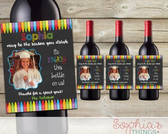 Teacher Gift Wine Bottle Labels, Our Child May Be The Reason You Drink, Teacher Appreciation Gift, End of The Year Teacher Gift, Christmas