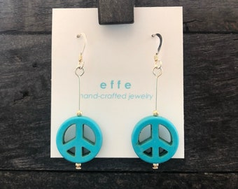 Turquoise Peace - effe fish hook style sterling silver dangle earrings with turquoise colored peace sign beads