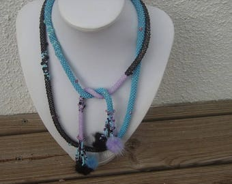 Long seed beads and tassels