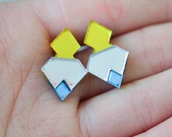 Mirror Perspex Geometric Stud Earrings - Yellow / Silver / Blue