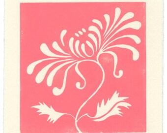 Chrysanthemum - linoleum block print