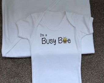 I'm a Busy Bee baby grow and hooded tiwel