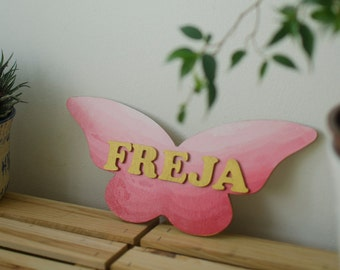 Name Sign For Baby Room, Pink Butterfly Wood Name Plaque for Nursery, Gift for Baby Girl,  Butterfly Lover, Custom Nursery Wall Decor Girls