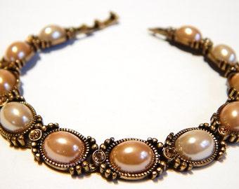 Vintage Liz Claiborne Bracelet - Bronze With Peach Faux Pearl - Vintage Bracelet - Vintage Jewelry