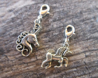 Unicorn Clip-On Charm Tibetan Silver with lobster clasp zipper pull, planner charm, bracelet charm, necklace charm purse charm boho chic