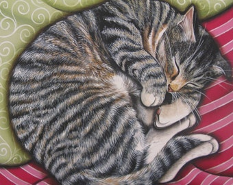 Afternoon Nap - 8 x 8 Print of Original Acrylic Painting by Carolee Clark