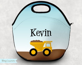 Dump Truck Lunch Tote - Personalized Lunch Bag for Kids - Washable Soft Neoprene - Construction Lunch Box