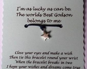 Godson Gift, Godson Wish Bracelet, Wish Bracelet, Godson birthday gift, gift for Godson, Godson jewellery, Godson Bracelet, christmas gift,