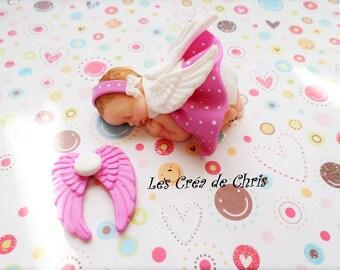baby girl Angel theme polymer clay.