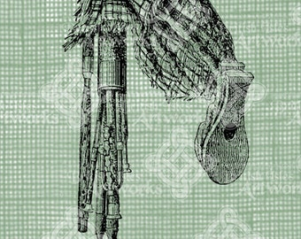 Digital Download Bagpipes with Scottish Plaid, digi stamp, digis, digital stamp, Antique Illustration, Icon of Scotland, Bag Pipe, Bagpipe