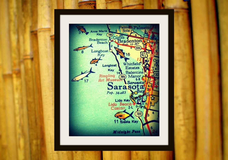 Cool Sarasota Map Print 8x10 Siesta Key Florida vintage