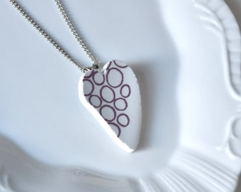 Recycled China Heart Pendant -Purple Circles - Portion of Proceeds to American Heart Association