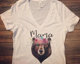 Mama Bear shirt|Papa Bear|Baby Bear|Auntie Bear tshirt| Boho| Mom to Be| Pregnancy | Pregnancy announcement|Mothers Day Gift
